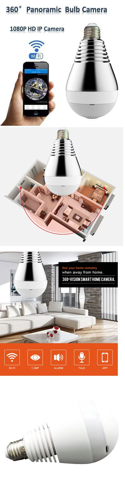 Security Cameras: Bulb Light Wireless Spy Ip Camera Wifi Fisheye 1080P 360 Degree Mini Cctv V380 -> BUY IT NOW ONLY: $47.22 on eBay!