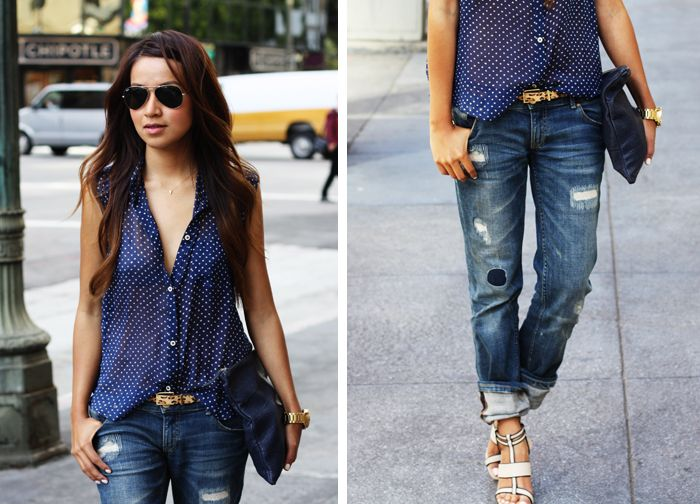 How to dress up torn jeans style