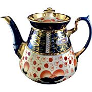 Antique Victorian teapot, Gaudy Welsh inspired, mid Victorian