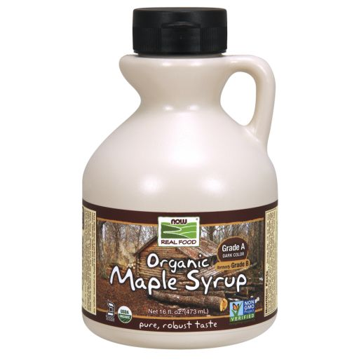 WhatSugar: NOW Real Food® Maple Syrup, Organic Grade A Dark Color (formerly Grade B). (16oz) Robust Taste. Contains 66% sugars. Provides 50 kcal/ 1 Tbsp (15 mL) or 17Kcal/ 1 tsp (5mL). Nutrition = 16g sugars/ 1 tablespoon (15mL or 20g) or 5g sugars/ 1 teaspoon (5mL or 7g). Non-GMO Project Verified. Certified Organic by QAI. Certified Kosher Parve by Kof-K. Vegan. Has a deeper, richer flavor than Grade A light syrups. Distrib. by NOW Real Food®, Bloomingdale, IL