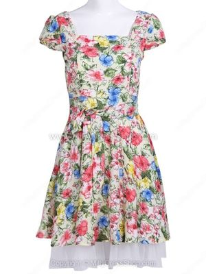 Multicolor Short Sleeve Floral Chiffon Dress
