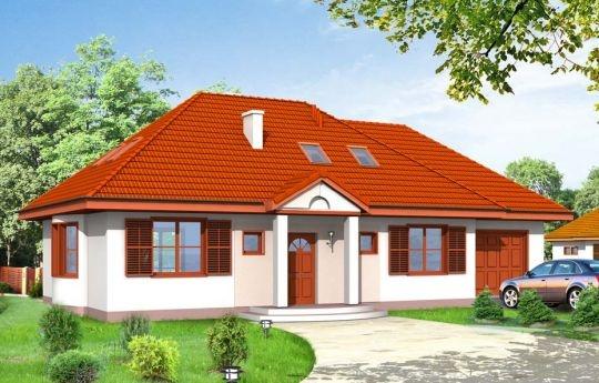 Projekt Gargamel z Garażem jest domem jednorodzinnym będącym rozbudowaną wersją projektu Gargamel. Czterospadowy dach, front wejściowy z kolumnami i garaż dobudowany do głównej bryły. Budynek posiada wygodne Wnętrze - salon z wyjściem na taras, aneks jadalny z pięknym łukowym wykuszem, częściowo otwarta kuchnia z bardzo przydatnym pomieszczeniem gospodarczym, oraz w drugim skrzydle domu dwa pokoje z łazienką i garderobą, oraz garaż.