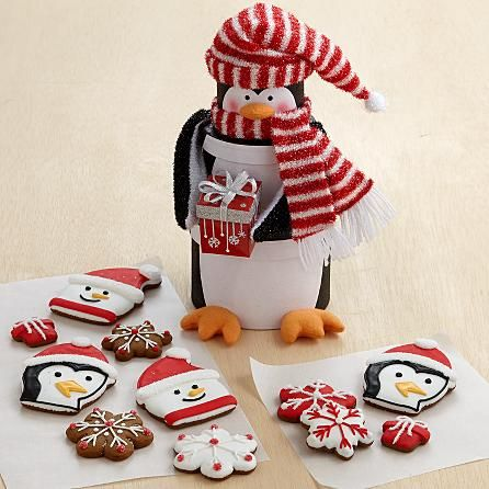 Penguin Cookie Tower with 12 Hand-Decorated Gingerbread Cookies and other fruits & gifts at CherryMoonFarms.com