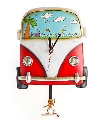 Very cool...Kombi Combi Volkswagen (Red) Wall Clock Surfing Surfer Dude pendulum Beach House