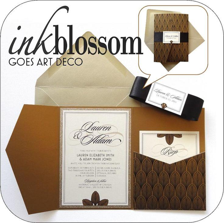 Art Deco Inspired Wedding Invitation| Gold Invitation Pocket with ...