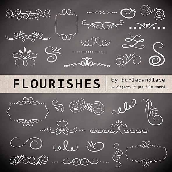 Chalkboard flourishes clipart by burlapandlace on Creative Market