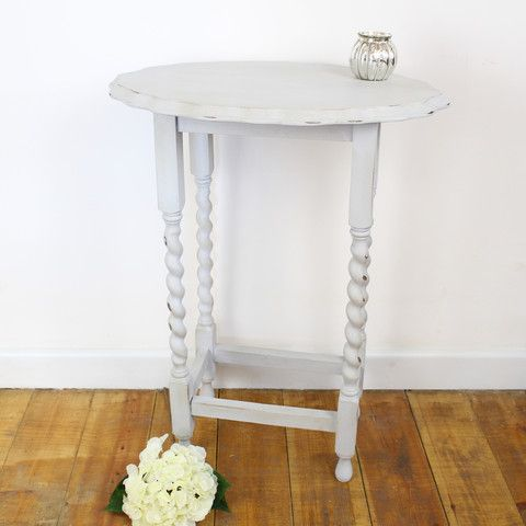 Hand Painted Grey Side Table with Barley Twist Legs from Tiddlerandfox.com