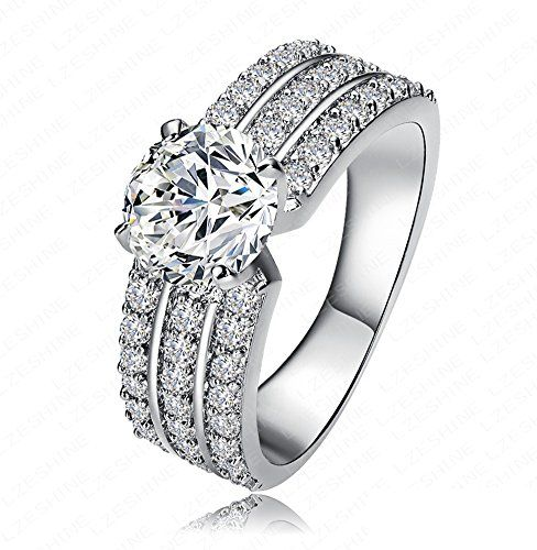 Women's 3 Row AAA Cubic Zirconia Around 14K White Gold Plated Engagement Wedding band ringsSize 6 7 8