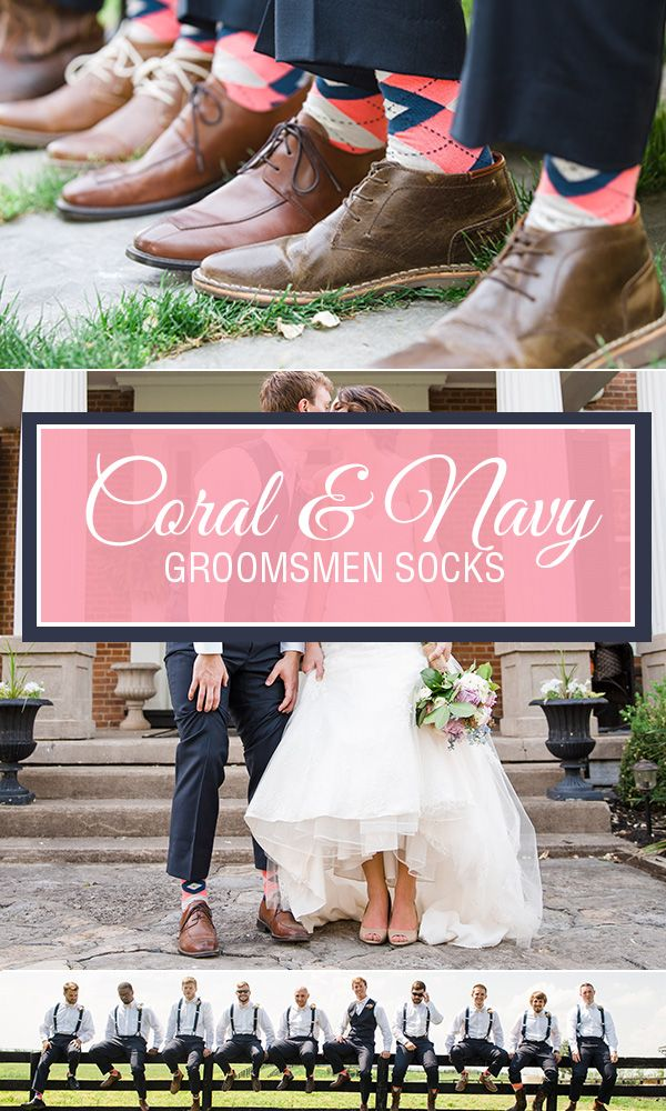 Spring and summer weddings are upon us, and once again, coral is the trendiest color of the year for wedding socks. With an accent of navy and burlap woven into the coral argyle pattern, this Statement Sockwear pair of socks is selling faster than we can keep inventory available. While it is still available, get your groomsmen into a pair of socks that will match perfectly to your coral bridesmaid dresses. Photography by http://leahbarryphotography.com/