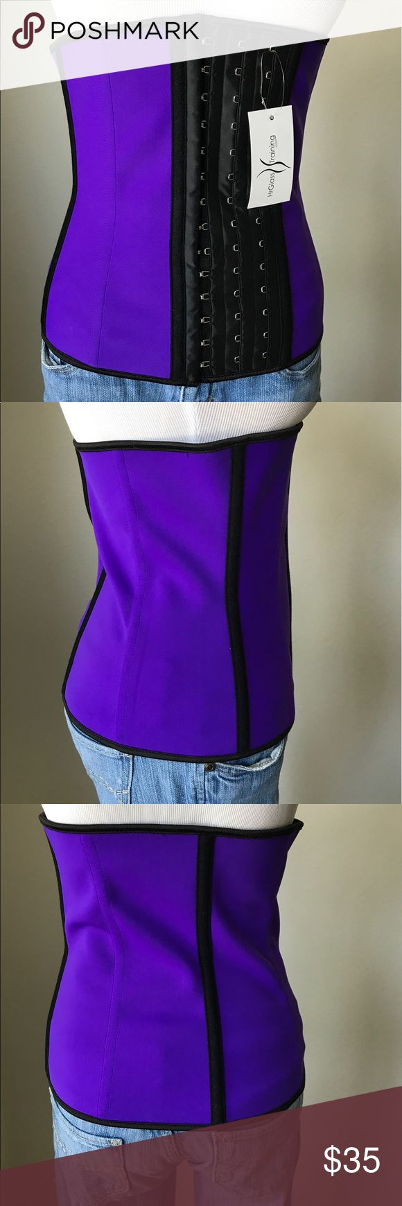 HrGlass Training Best Waist Trainer Corset Purchased this and it didn't fit and I could not return. Purple waist trainer 96% Cotton/4% Spandex/Core: 100% latex. Steel boned and has three hooks to adjust sizing.  Sizing is in last photo. Intimates & Sleepwear Shapewear