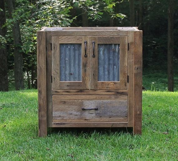 """& this is another """"don't know what I'd do with it, but I LOVE it"""" — Rustic Vanity  Reclaimed Barn Wood w/Tin Doors by Keeriah on Etsy"""