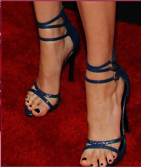 I like these strappy heels in a contrasting color to the dress.