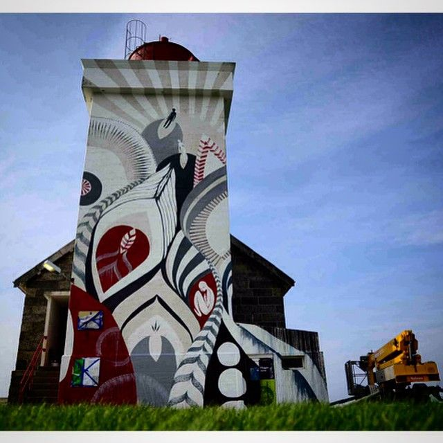 by Lucy McLauchlan - Painted on a lighthouse - for Nuart '14 - Stavanger, Norway
