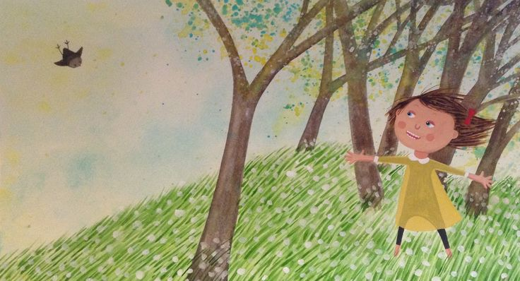 Illustration children book - Elsa har en fågel i handen ( Bonnier Carlsen 2015, PIXI, Sweden ) © Anna-Karin Garhamn