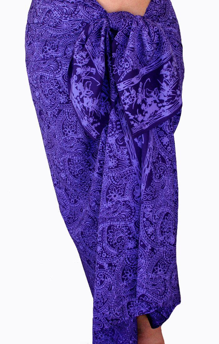 Batik Pareo Beach Sarong Women's Beach Clothing Sarong Wrap Skirt - Indigo Purple Paisley Sarong Swimsuit Cover Up - Beachwear -…