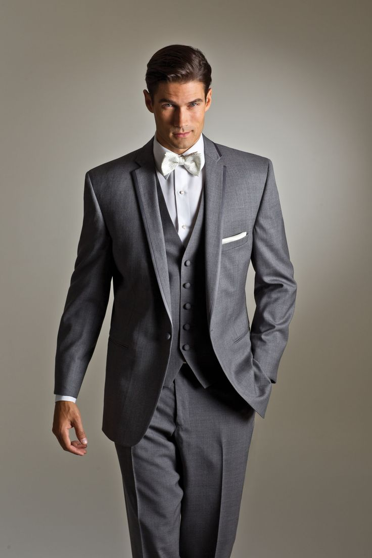 Savvi Style Grey Kristoff By Savvi Black Label Luxury Wool 1 Button Grey Matching Vest And