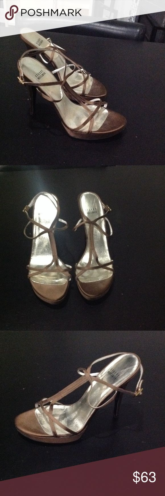 """Strap up heels Gently worn Brown platform 5 inch heels. Note: I want to be clear that I will ship these heels securely but I will not be """"fancy"""" with shipping. I just don't have the time to package my gently used items like a department store.  Please notice this before making your purchase. Stuart Weitzman Shoes Heels"""