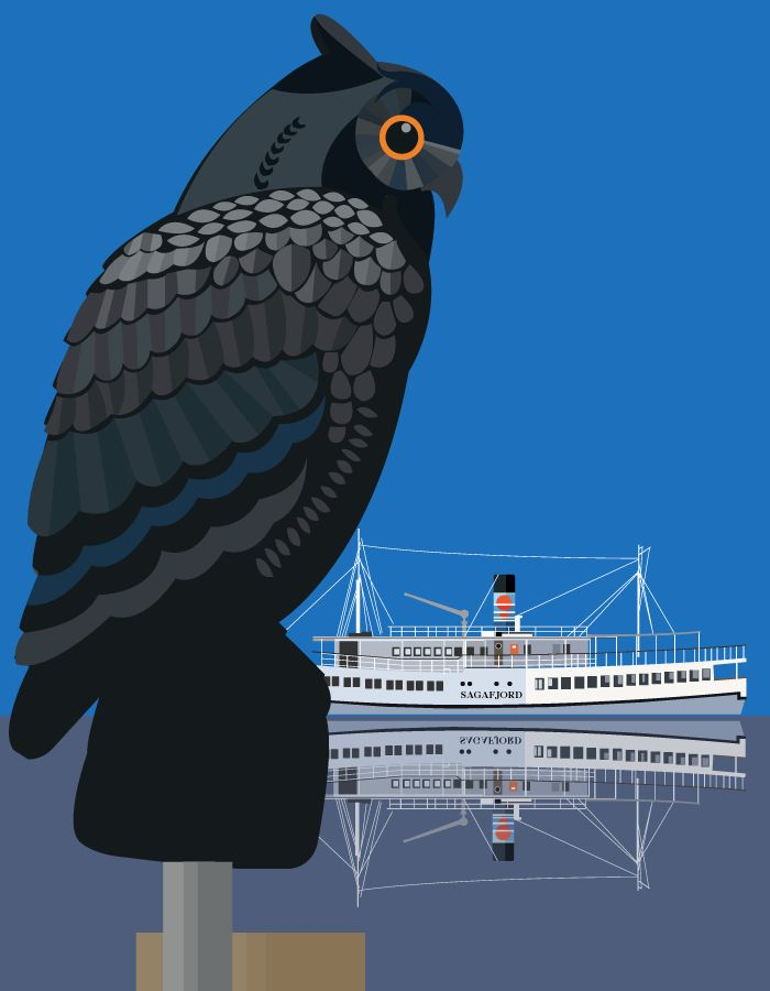 """Roskilde Havn - The Harbour Owl and the M/S Sagafjord - illustrated by #Sivellink """"An Icon a Day"""""""