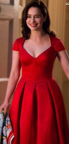 Emilia Clarke as Louisa Clarke in red dress.