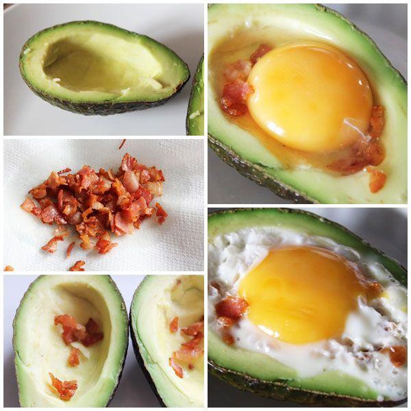 Aguacates con huevo y bacon pasos
