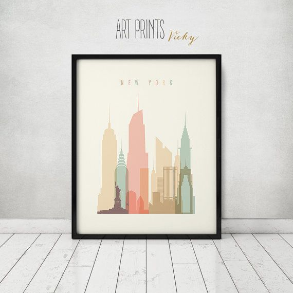 New York print, Poster, Wall art, Cityscape, New York skyline, City poster, Typography art, Gift, Home Decor, Digital Print, ART PRINTS VICKY.   QUALITY AND DETAILS ►Paper: EPSON Premium Glossy or Semigloss Photo Paper Best 5 stars in 251 or 255gr. ►Ink: Epson archival professional ink for colorful, vibrant prints that are water & fade-resistant ►Posters last up to 98 years in a frame, or over 200 years in a photo album ►Dimensions: please select your prefer dimensions  SHIPPING ►Deliver...