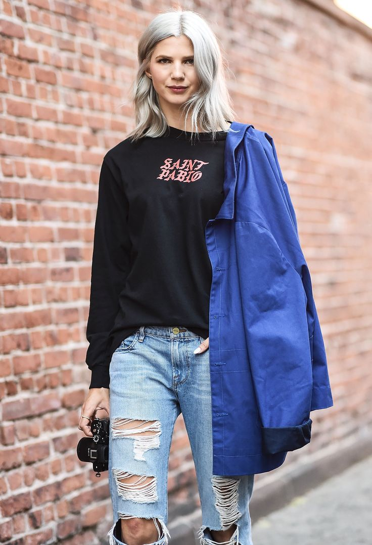 Samantha Angelo Wore a Saint Pablo Shirt With Her Bill Cunningham-Inspired Blue Jacket