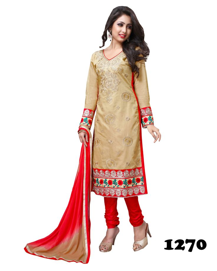 Designer Semi Stitched Red Chudidar #SalwarSuit  #craftshopsindia