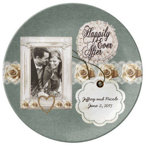 Rustic Burlap Country Couple Photo Wedding Dinner Plate