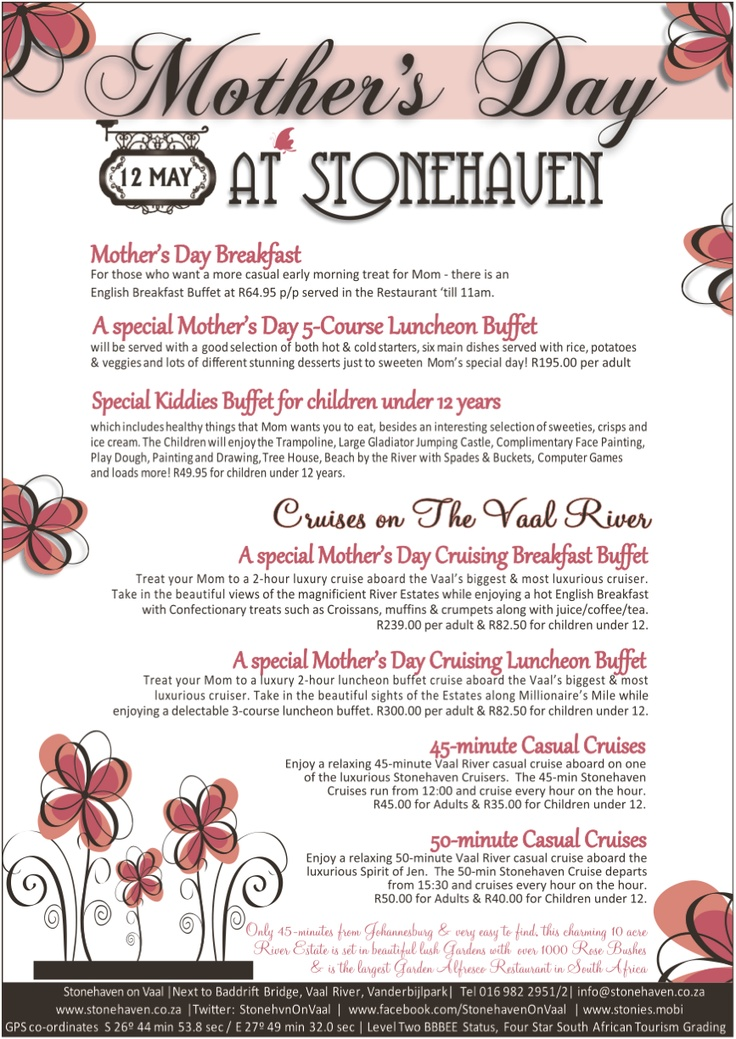 Mother's day at Stonehaven right on the banks of the Vaal River in Gauteng