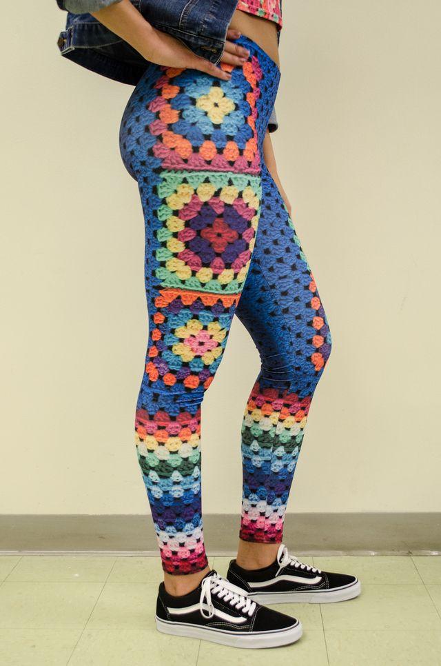 granny square print leggings by Snapdragon brand