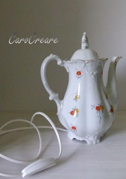 Lampe aus alter Kaffeekanne von CaroCreare  auf DaWanda.com