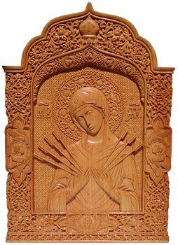 """Икона Богородицы """"Семистрельная"""", 28х19,6х1,8 см., древесина бука. 2015 г."""