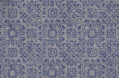 Serego (P605/09) - Designers Guild Wallpapers - A delightful block printed abstract tile design, vinyl wallcovering with an antique air, complemented by the textured ground. Shown in the cobalt blue colourway.  Please request sample for true colour match. Pattern repeat 17cm.