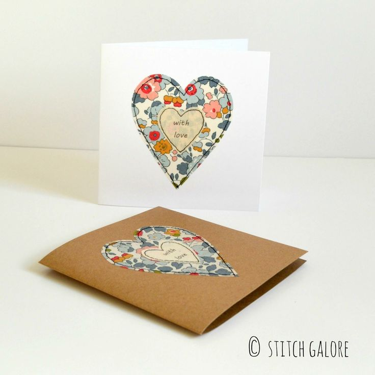 Embroidered heart greetings card, Valentine's card, Anniversary or Wedding card handmade by Stitch Galore www.stitchgalore.com