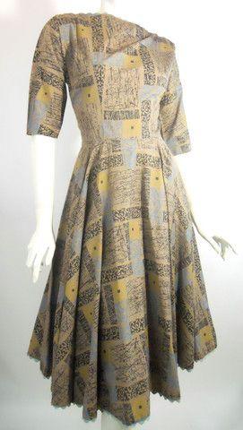 Atomic Print Ric Rac Trimmed Cocoa Dress circa 1950s - Dorothea's Closet Vintage