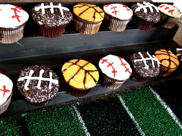 Sports Themed Birthday Party Cupcakes