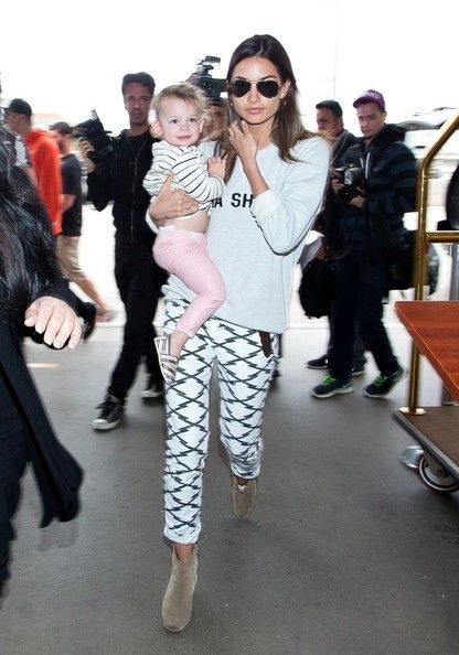 Lily Aldridge and Her Daughter at LAX