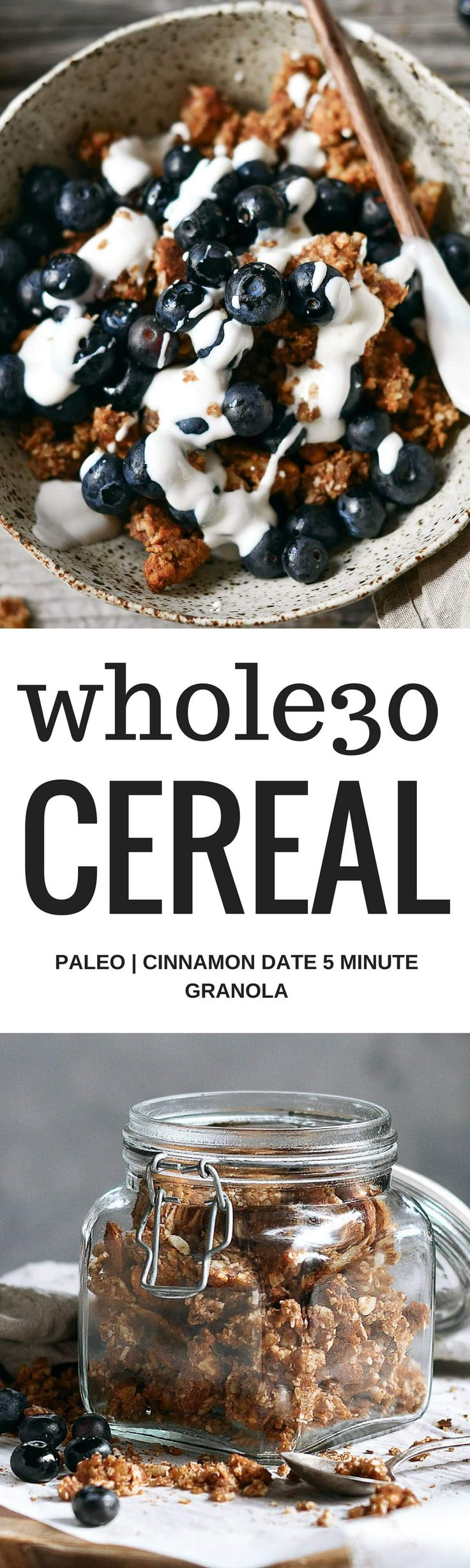 Easy whole30 and paleo cinnamon date granola. Made with toasty coconut, almond, nutty infusions, date pieces, and cinnamon spice. Sweetened naturally with pure date syrup! Made in minutes and uses all clean eating ingredients! Pin now to make for a healthy breakfast or snack later.