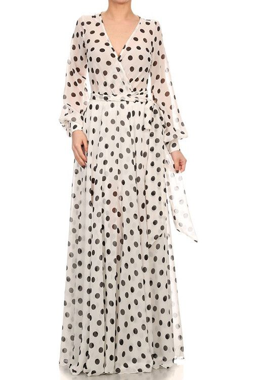 Black and White Polka Dot Maxi Dress D2757L-2