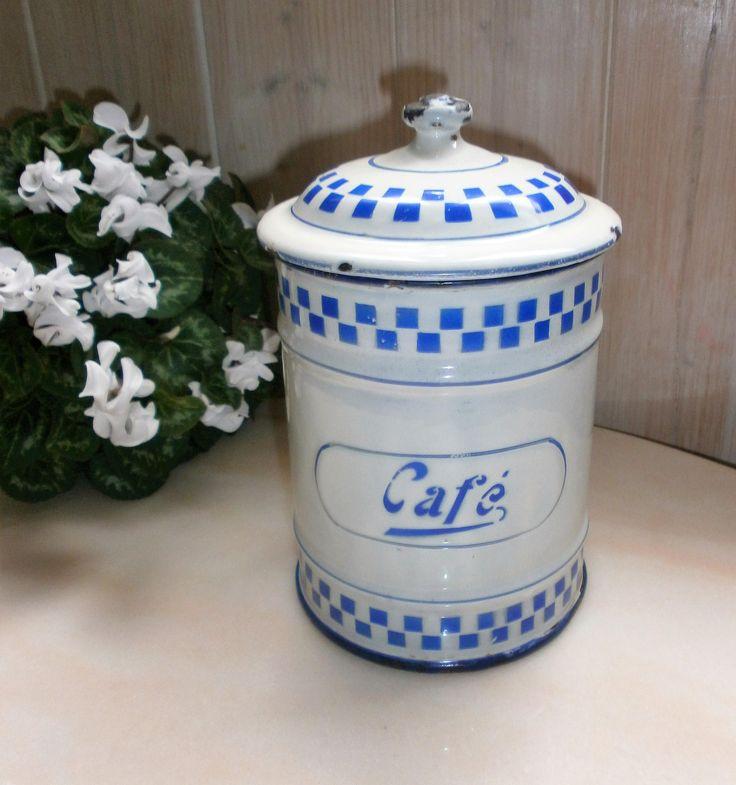"""Ancien Pot à café émaillé blanc et bleu """" Lustucru"""" 1920 - Vintage and Shabby French enamelled coffee jar Lustucru de la boutique FrenchVintageByManue sur Etsy"""