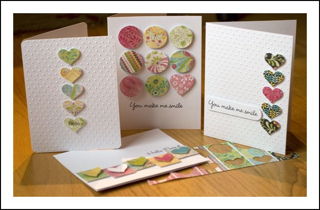 great use of scrape paper!  limitless!: Cute Cards, Crafts Used Scrapbook Paper, Cards Ideas, Scrapbook Cards From Scrap, Paper Scrap, Simple Cards, Basic Grey Cards, Heart Cards, Paper Punch Cards