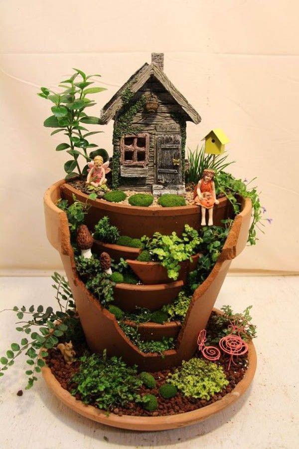 Fairy Gardens Made From Broken Planter