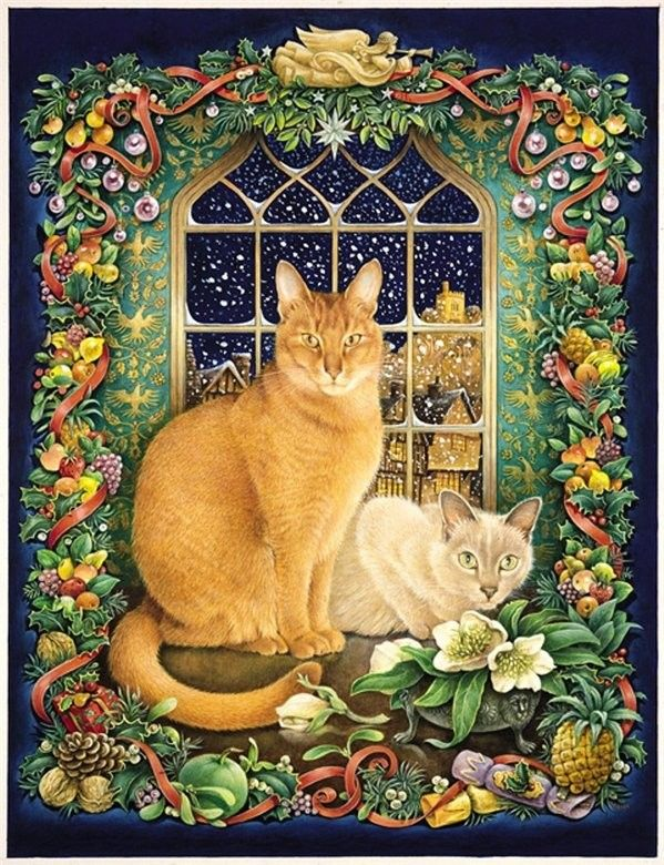 Lesley Anne Ivory. Love her holiday cats