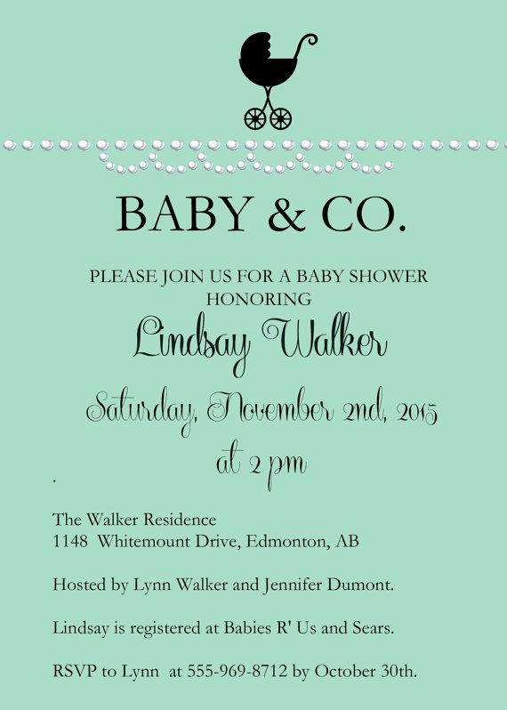 Check out this adorable PRINTABLE Baby and Co. pearl baby shower invitation I found on Etsy. So cute! #babyandco #babyshower #tiffanybaby