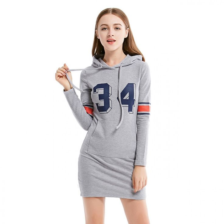 Autumn new student dress casual long-sleeved sweater and long sections Hooded Dress