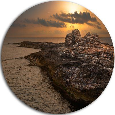 """DesignArt 'Rocky Coast with Ancient Ruins' Photographic Print on Metal Size: 11"""" H x 11"""" W x 1"""" D"""
