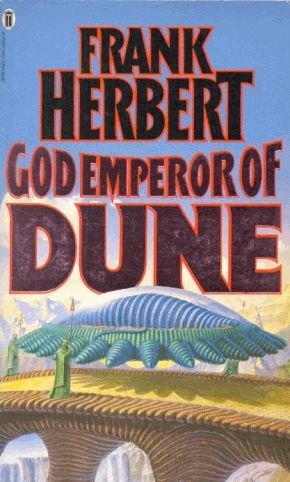 Publication: God Emperor of Dune  Authors: Frank Herbert Year: 1990-00-00 ISBN: 0-450-05262-1 [978-0-450-05262-0] Publisher: New English Library Cover: Gerry Grace