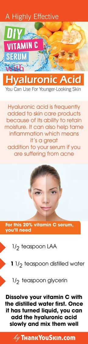 A Highly Effective DIY Vitamin C Serum With Hyaluronic Acid You Can Use For Younger-Looking Skin. Homemade Vitamin C serum recipe it works, for anti aging, dark spots