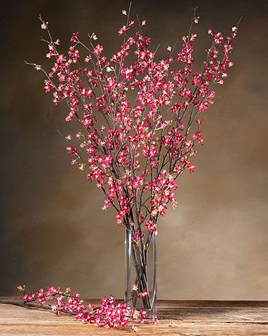 Dark Pink Fake Cherry Blossom Stems Faux Single Stem