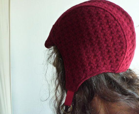 Lana rossa Basket Weave aviatore cappello Cappelli di rocksandsalt, $68.00